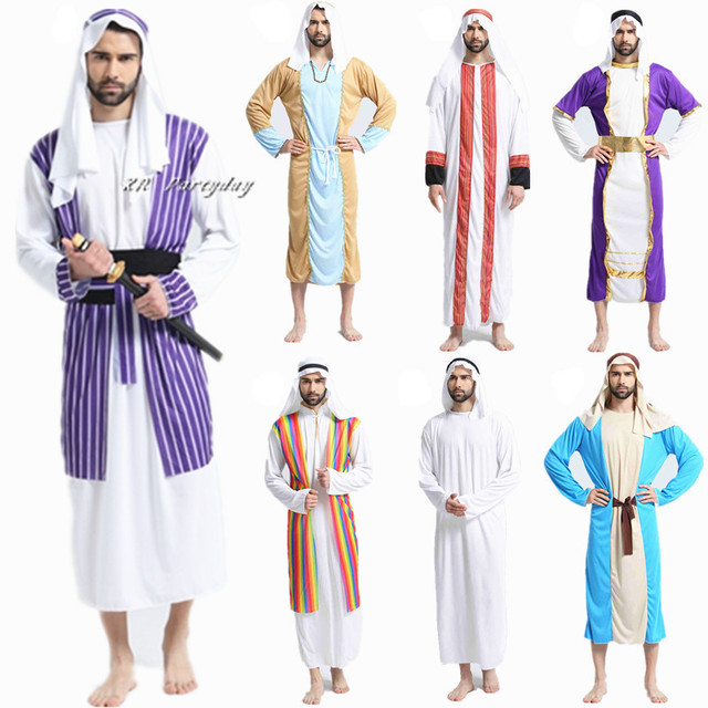 Adults Men Arab King Dubai Prince Cosplay Robe Role Play Carnival Masquerade Party Christmas halloween costume for Women