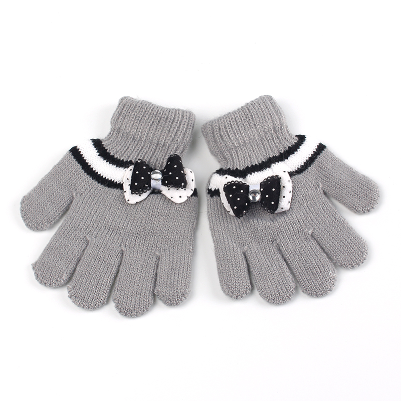Bow Girls Gloves Cotton Crochet Children Mittens Autumn Winter Kids Gloves Cashmere Warm Gloves Solid Kids Mittens Girl Clothing