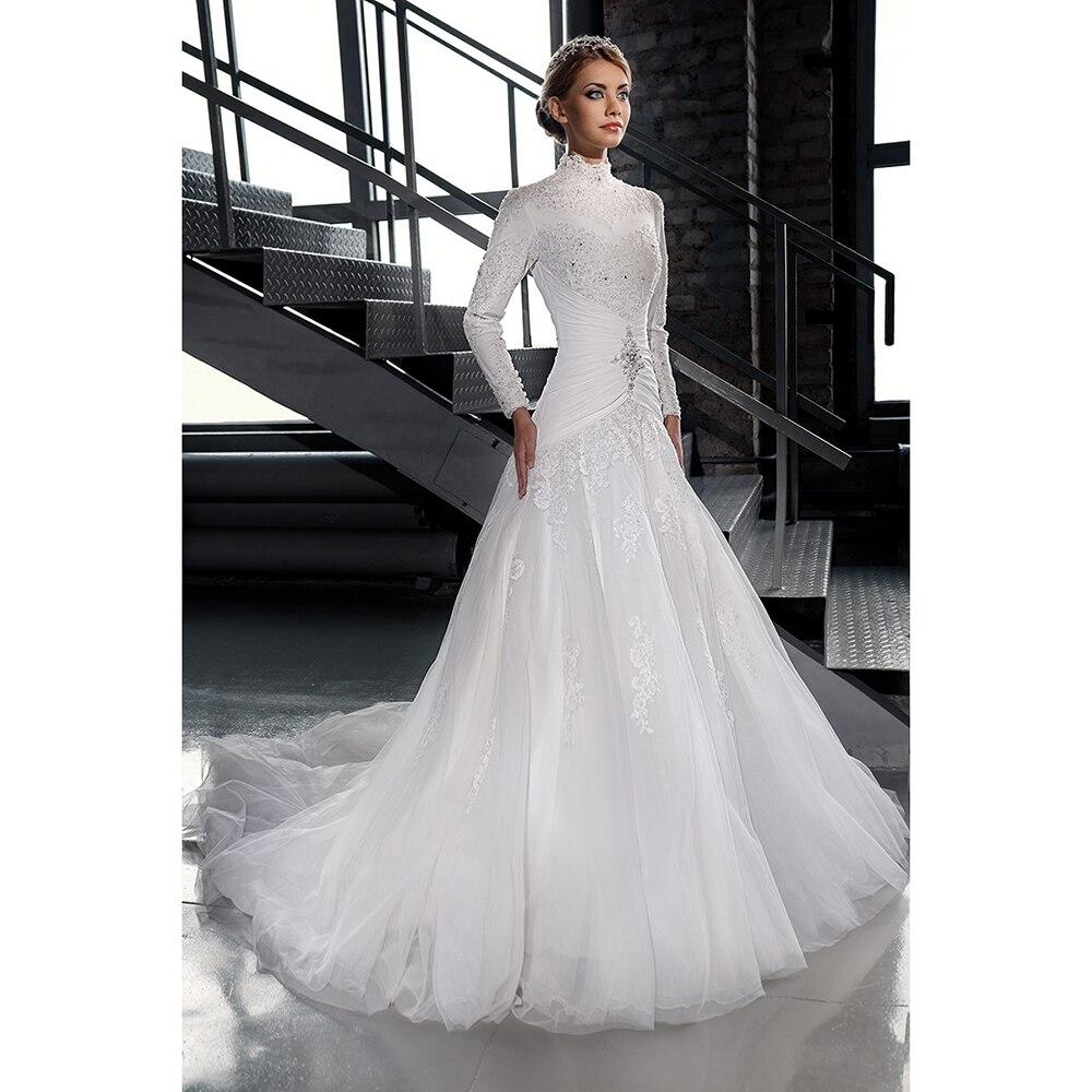 White Tulle Muslim Wedding Dresses Beaded Lace High Neck Long Sleeve ...