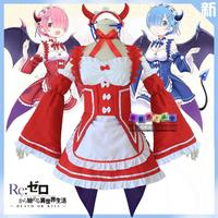 Japanese Anime Re:Life in a different world from zero cosplay Ram Halloween sweet Lolita demon cartoon Christmas red dress set