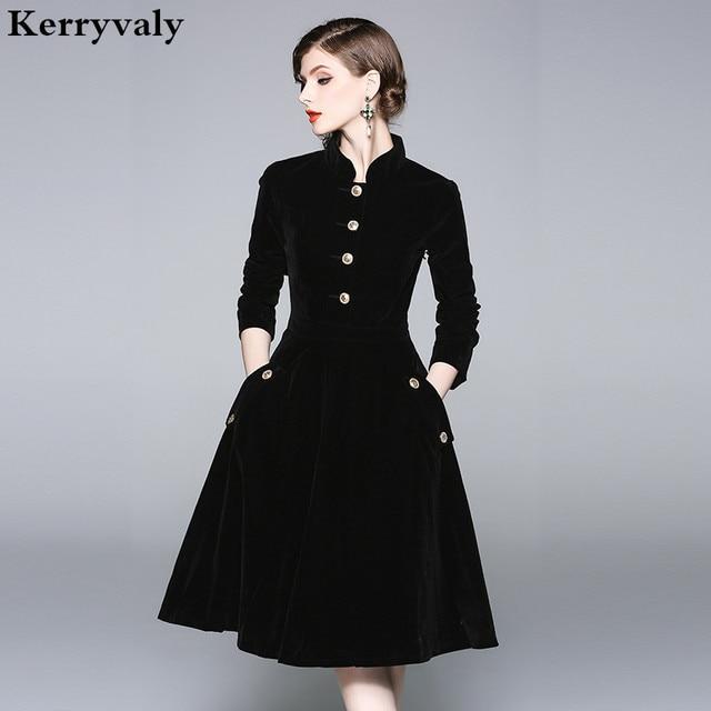 Vestido Plus Size Dress Women 3xl Winter Velvet Dresses Zomerjurken 2018 Dames Long Sleeve Black Office
