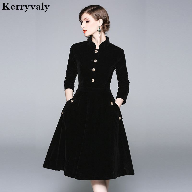 US $33.54 18% OFF|Vestido Plus Size Dress Women 3XL Winter Velvet Dresses  Zomerjurken 2019 Dames Long Sleeve Black Office Retro Party Dress K8858-in  ...