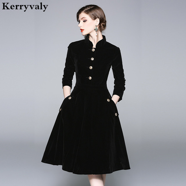 Vestido Plus Size Dress Women 3XL Winter Velvet Dresses Zomerjurken 2019  Dames Long Sleeve Black Office 2f2fd3095a4b