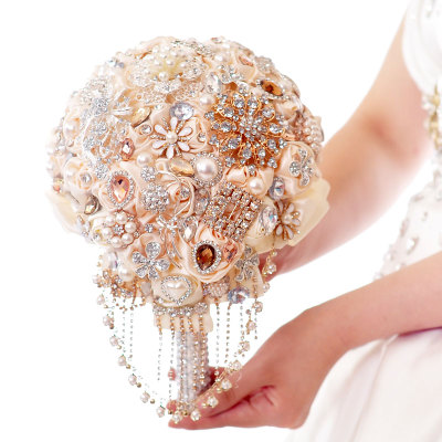 High-pearl diamond ribbon bride holding flowers diy Korean wedding supplies flower ball wedding bouquet hands ...
