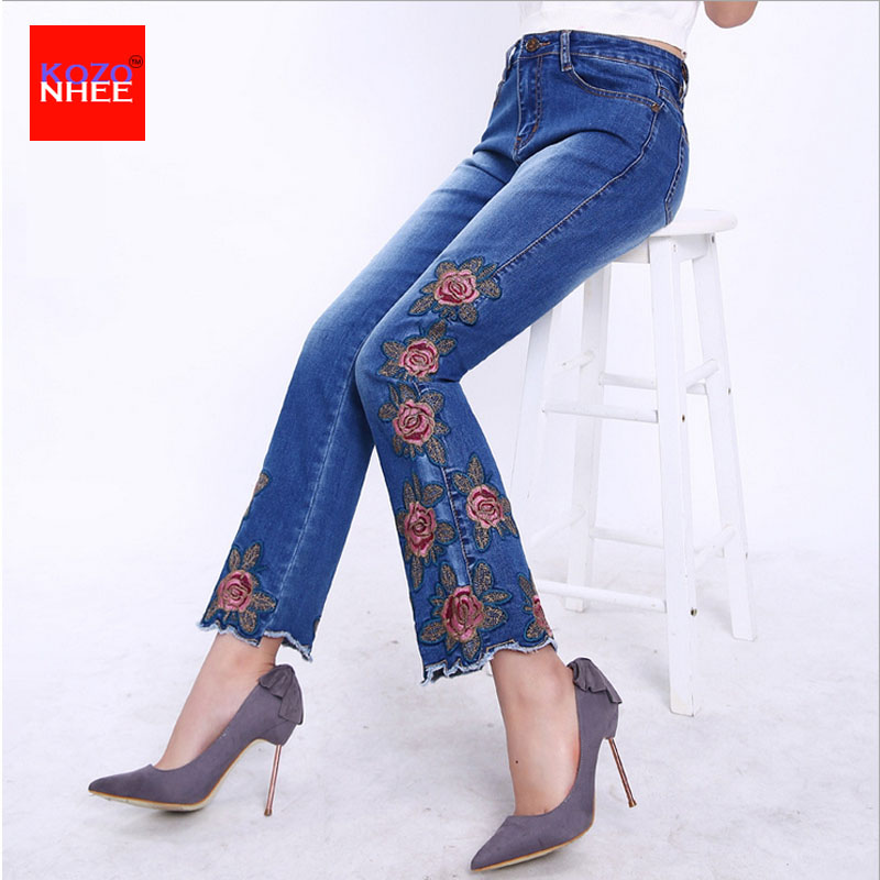 Plus Size Stretching Flared font b Jeans b font Woman With Embroidery Bell bottoms font b