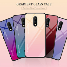 For Oneplus 7 Aurora Gradient Tempered Glass Case Shockproof Hard Back Cover