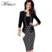 MISSJOY Modis Business office Women patchwork Fake Two Piece Dress  belt Love Republic Square Collar Dresses 2018 New Ukraine