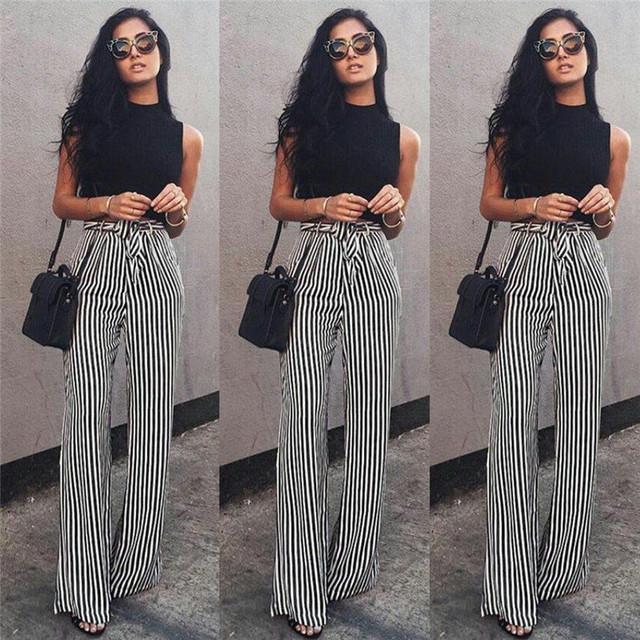 Striped Palazzo Wide Leg Pants Women Drawstring Long Loose High Waist Trousers Ladies Plus Size Flat Pants