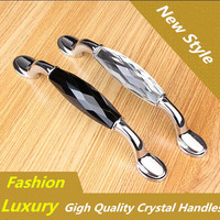 128MM Fashion Luxury Black K9 Crystal KIchen Cabinet Pull Clear Crystal Drawer Dresser Cupboard Wardrobe Furniture