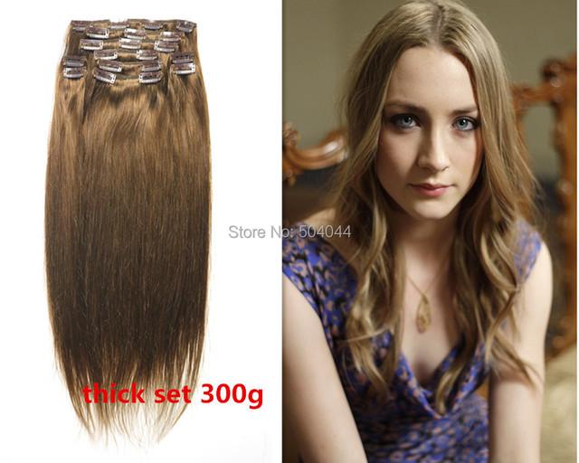 Envío gratis 12 unids conjunto gruesa 100% suave clips indian remy en/sobre las extensiones del pelo humano #6 dark castaño 300g