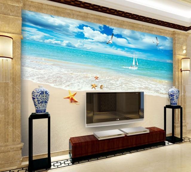 Free Shipping 3D Custom Summer Scenery Beach TV Background Wall ...