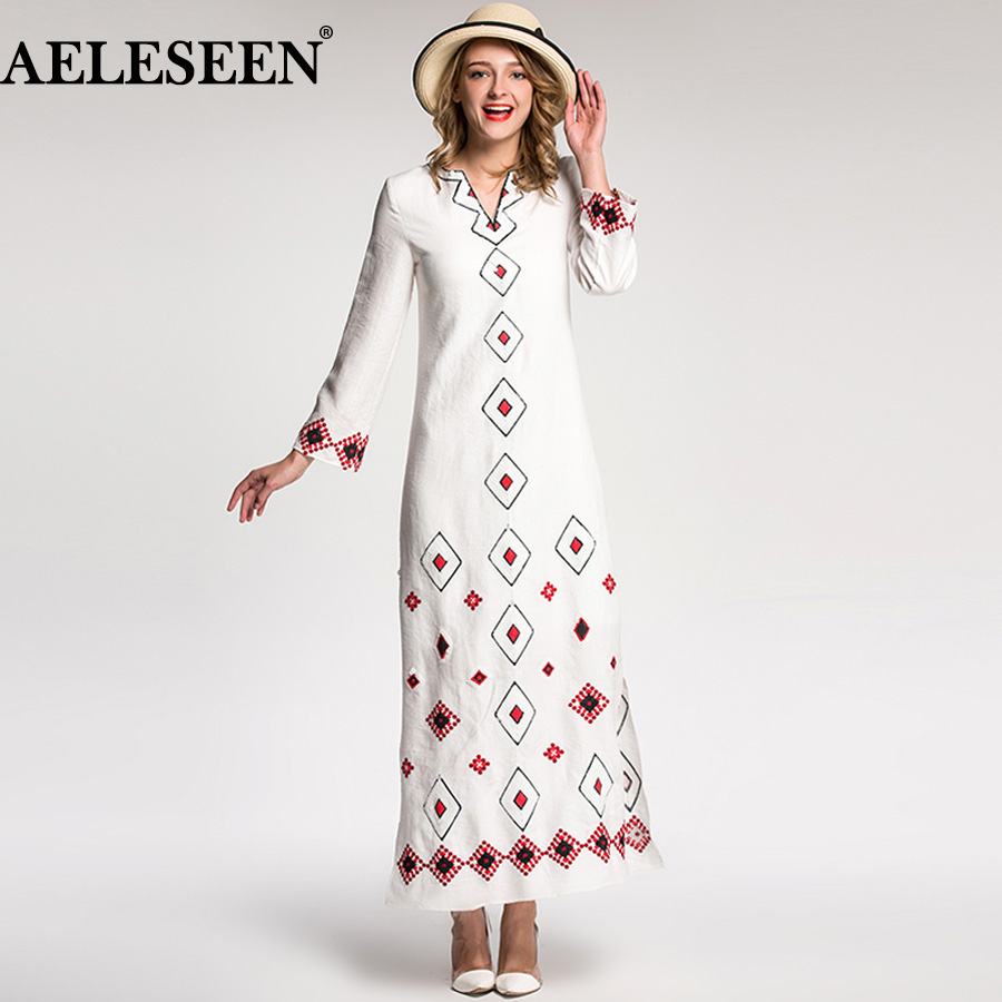 AELESEEN Vintage Vestido 2018 Autumn Winter Fashion Full Sleeve Sequin Embroidery V neck High Quality White