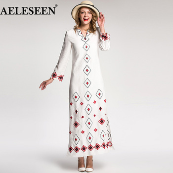 AELESEEN Vintage Vestido 2018 Autumn Winter Fashion Full Sleeve Sequin Embroidery V-neck High Quality White Long Dress New