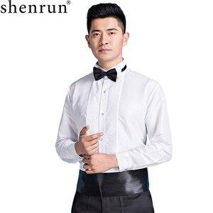 Camisa de esmoquin Shenrun con cuello de ala blanca para hombre, camisas de puño francés para boda y novio, trajes para fiesta de negocios, graduación, cantante, música o escenario