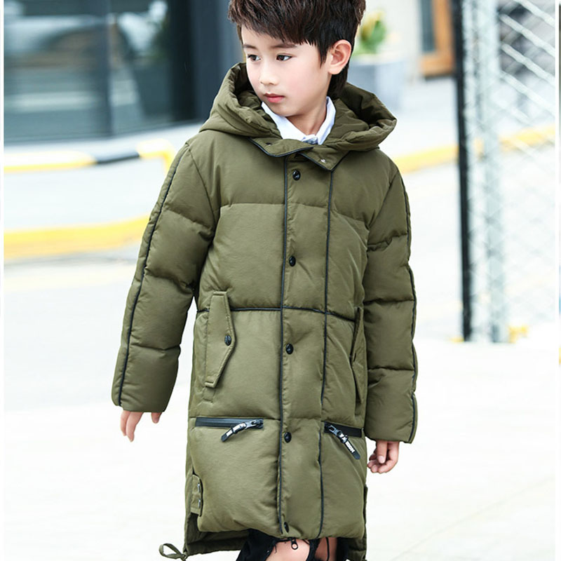 Christmas white duck down big boys winter coats outerwear warm long hooded down winter jacket boys 2017 black green red clothing