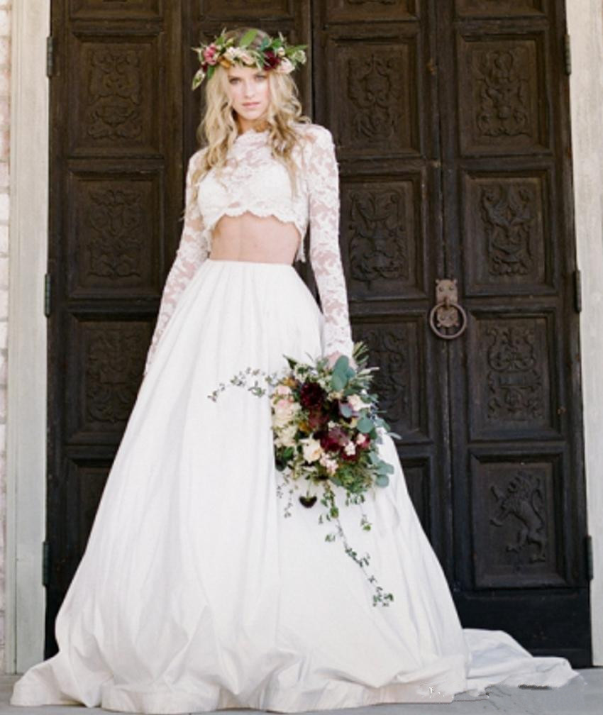Traditional Long Sleeve Wedding Gowns: Bridal Two Piece Wedding Dress Applique Illusion Long