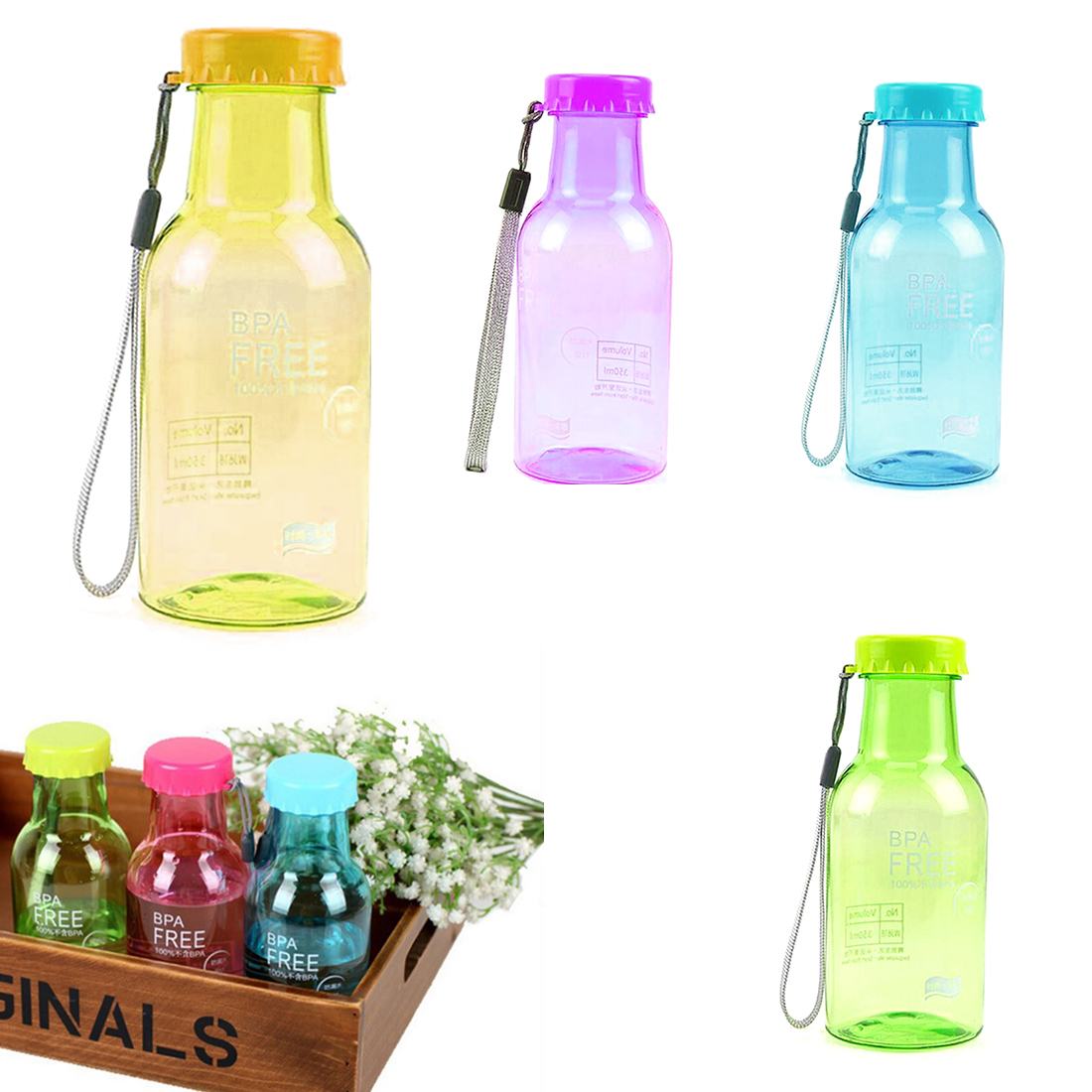 High Quality 350ML Portable Unbreakable Plastic Water bottle Outdoor Camping Biking Sports Leak proof Bottles