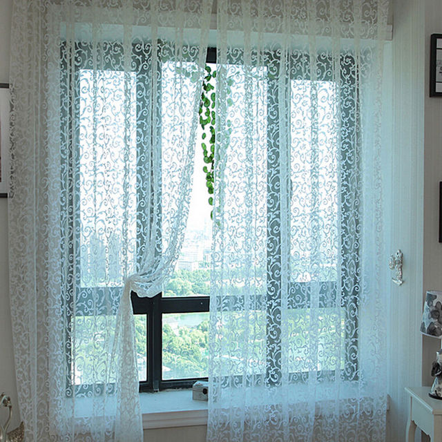 Moderne Rustique Conception Tulle Rideau Tissu Pour Fenêtre Chambre