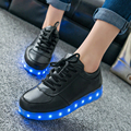 7 Colors 2016 New Arrival USB Charging Led Emitting Men Casual Shoes Light up Lace-up Flats Shoes Luminous Zapatillas
