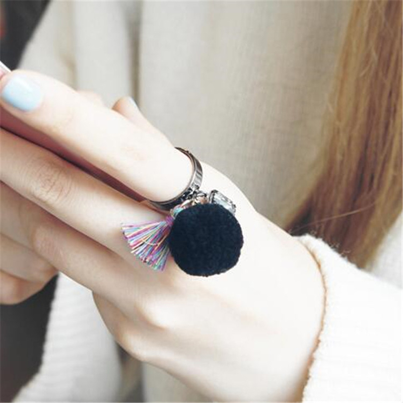Girl\'s Fur Pompom Open Cuff Ring Bijoux Stylish Designer Big ...