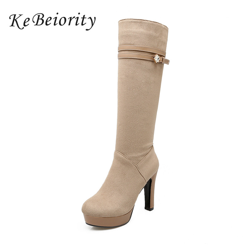 KEBEIORITY Sexy Beige Boots Women Stretch High Heels Black Platform Women Riding Boots Round Toe Knee High Boots for Women 2017