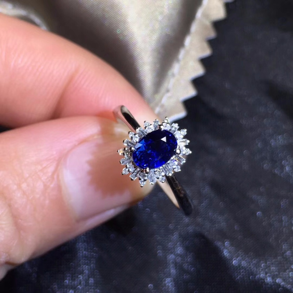 Fine Jewelry Real 18K 100% Natural 1.12ct Royal Blue Sapphire Gemstone 18k Gold Diamonds Stone Women Ring for Female Rings