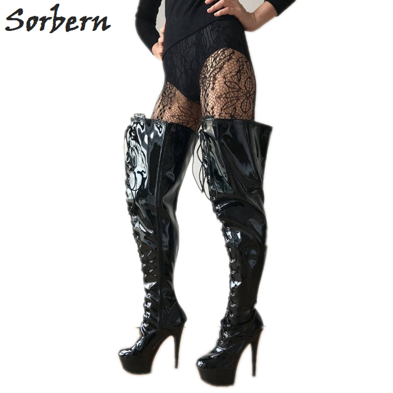 Sorbern Lace Up Med Thigh High Women Boot Custom Calf Size Black Heel Boots Sexy Fetish High Heel Wide Calf Boots For Women