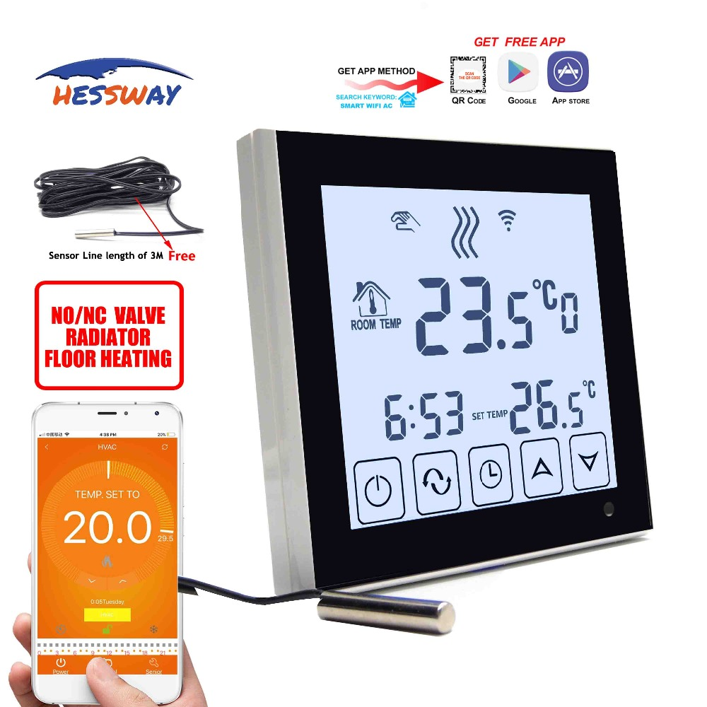 HESSWAY APP Android,apple System Control 3A Water Floor Heating Thermostat WIFI For Dual Sensor