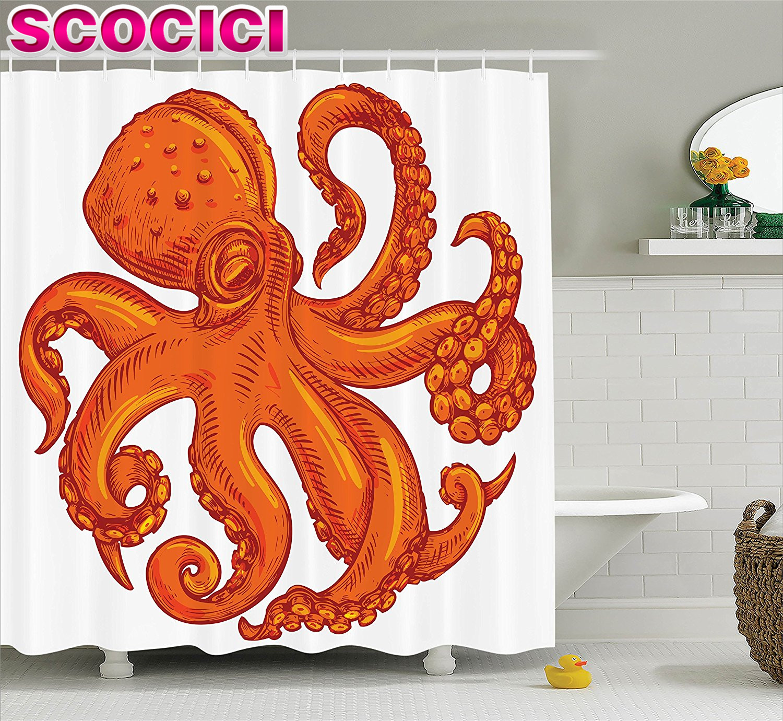 octopus decor shower curtain set octopus pattern underwater world wild nature themed artwork print bathroom accesso