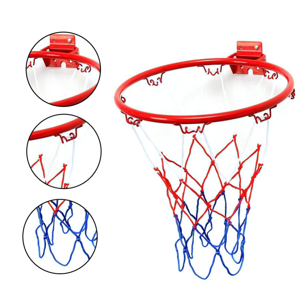 32cm Steel  Hanging Basketball Wall Basketball Rim With Screws Mounted Goal Hoop Rim Net Sports Netting Indoor Outdoor