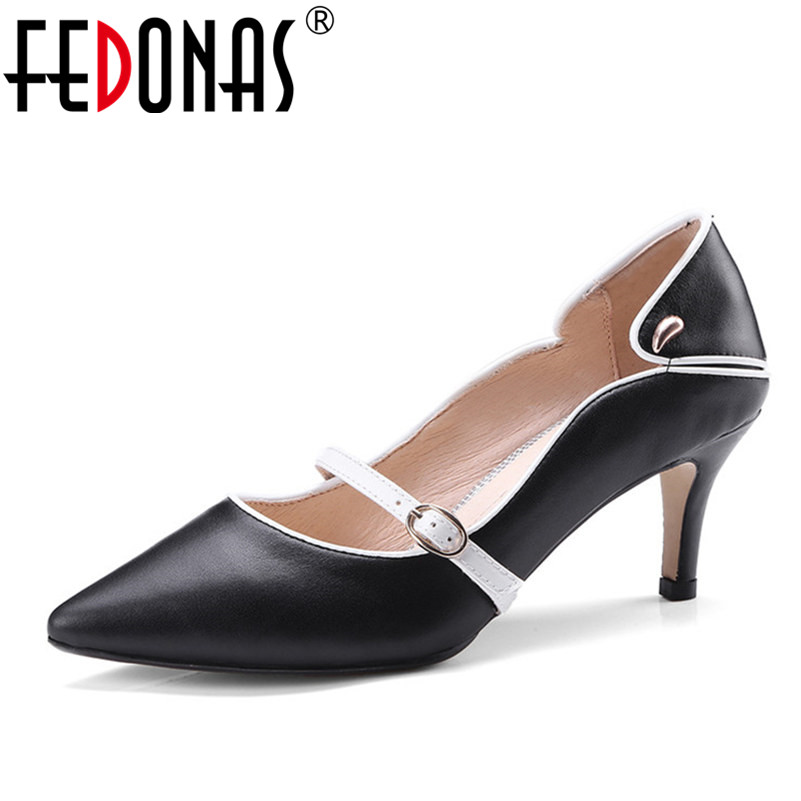 FEDONAS Brand Shoes Woman High Heels Pumps 6.5CM Women Shoes Mary Jane Wedding Shoes Pumps Black White Yellow Shoes Heels все цены