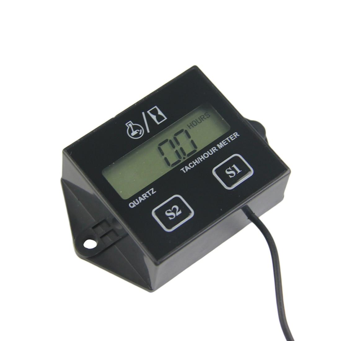 Tech Hour Meter Digital Engine Tachometer Gauge Inductive For Motorcycle Motor Stroke Engine Spark