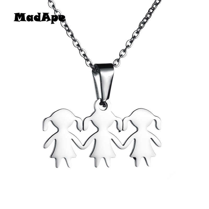 MadApe Three Girl Hand in Hand Sisters Family Necklace Silver/Gold Stainless Steel Pendant Neckalces for Daughter Birthday