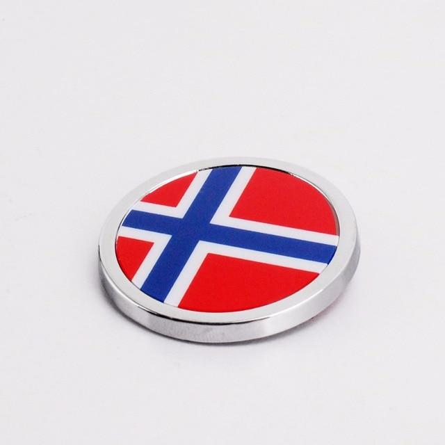 Car Exterior Accessories Norway Flag Sticker Metal Round Emblem For