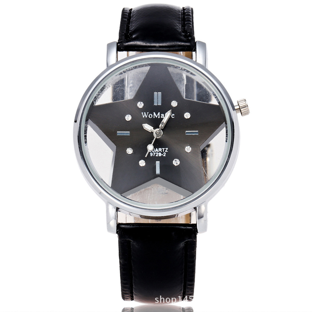 Модный бренд WoMaGe, милые дизайнерские женские часы с пятиконечной звездой, красивые женские часы из искусственной кожи, повседневные часы под платье