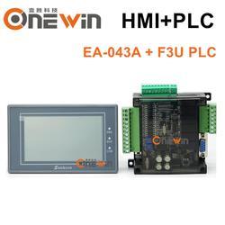 Samkoon EA-043A HMI pantalla táctil 4,3 pulgadas 480*272 y FX3U series PLC Placa de control industrial con comunicación DB9 línea