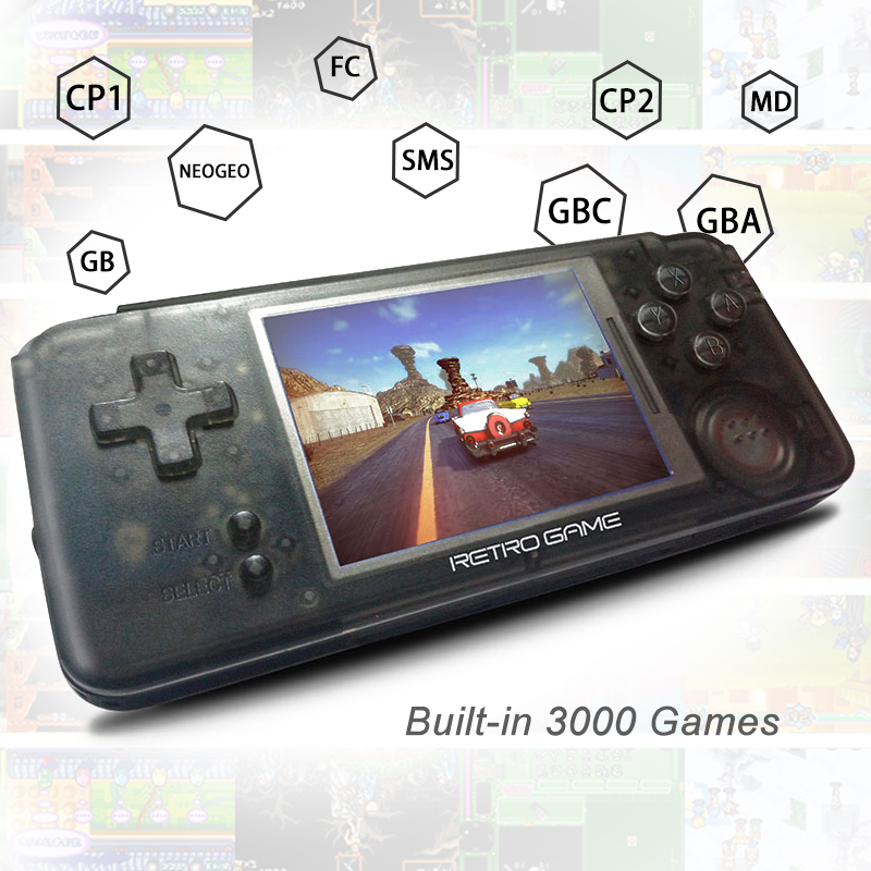 New 3.0 inch Handheld Game Player Built-in 3000 Classic Games Retro video Game Console Support For CP1/CP2/NEOGEO/GBA/GB/MD/FC