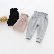 2017 Autumn Baby Girls Newest Fashion High Waist Ruffles Pants Vintage Harem Pants Baby Kids Clothing Kids Girls Cotton Trousers