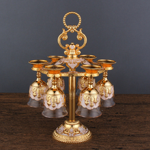 New arrival European Russian wine rack  Metal Hanging Wine Cup Holder Gold /Silver Fashion Rack with 6pcs cups