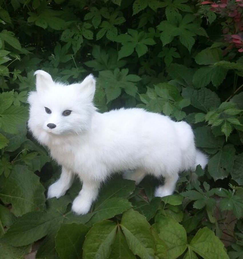 big new walking simulation fox toy lovely fox white fox doll gift about 35x22cm