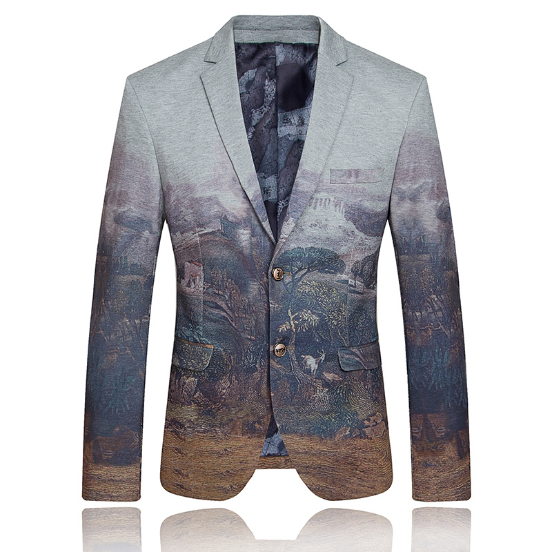 Unique mens painting dress suit blazer 2016 fashion party for Men s dressing style for wedding