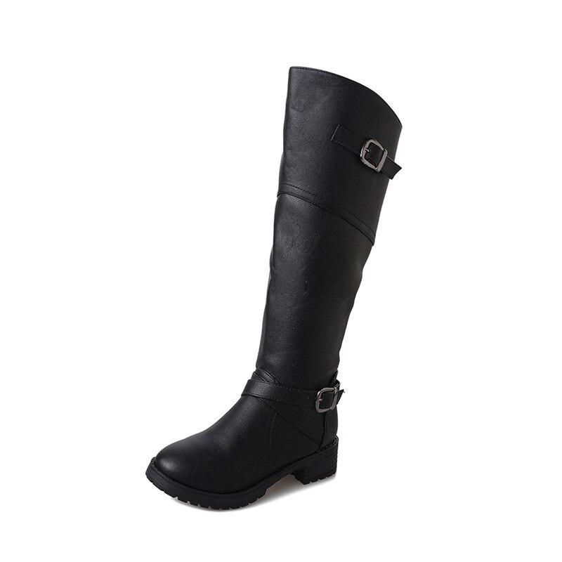 2018 autunno e in inverno piatto con stivali da parte delle nuove donne di modo della chiusura lampo selvaggio femminile testa rotonda stivali alti nero ljj 1031