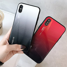 Gradient Tempered Glass Phone Case For iPhone X XR XS Max 7 8 6 6s Plus Huawei P20 Pro P20 Lite Honor 10 Xiaomi 8 Redmi 6 Case(China)