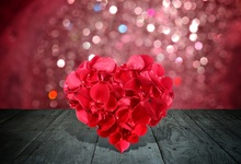 Laeacco Happy Valentine's Day Red Love Heart Polka Dots Wooden Board Child Portrait Photo Background Photo Backdrop Photo Studio