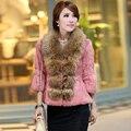 2016 genuíno das mulheres de pele de coelho Jacket luva dos três quartos gola de pele de guaxinim feminino casacos casacos estilo coreano VK1022