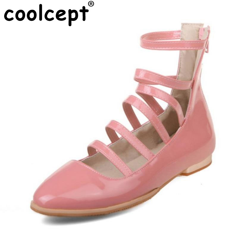88c1e7728e1b Patent Leather Women Shoes Rome Style Dating Shoes Buckle Strap Vintage  Flat Casual Flats Round Toe Zapatos Mujer Size 34-39