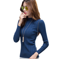 2016 Autumn Winter Sweater Fashion O Neck Thick Knitted Sweater Women Clothing Brand Warm Slim Long