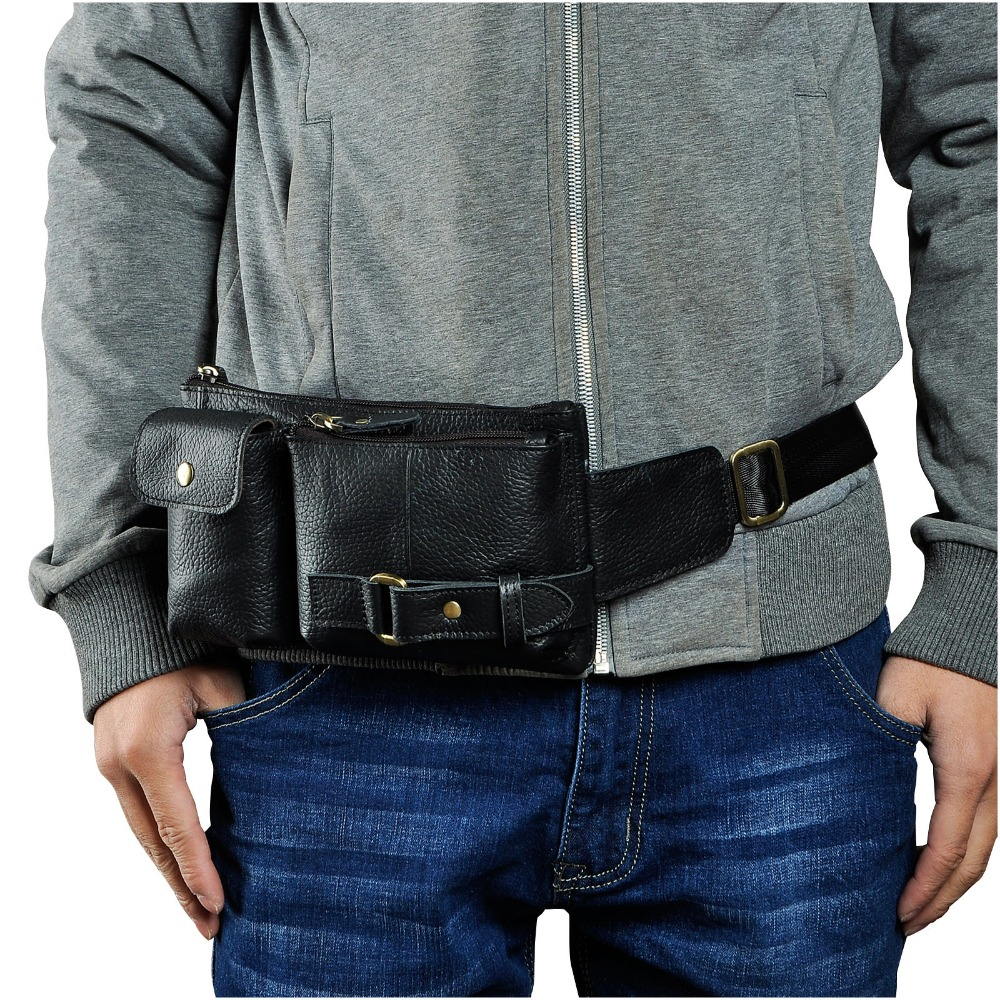 New Real Leather Men Casual Fashion Waist Belt Bag Chest Pack Sling Bag Cowhide Design Waist Phone Cigarette Case Pouch 8135b