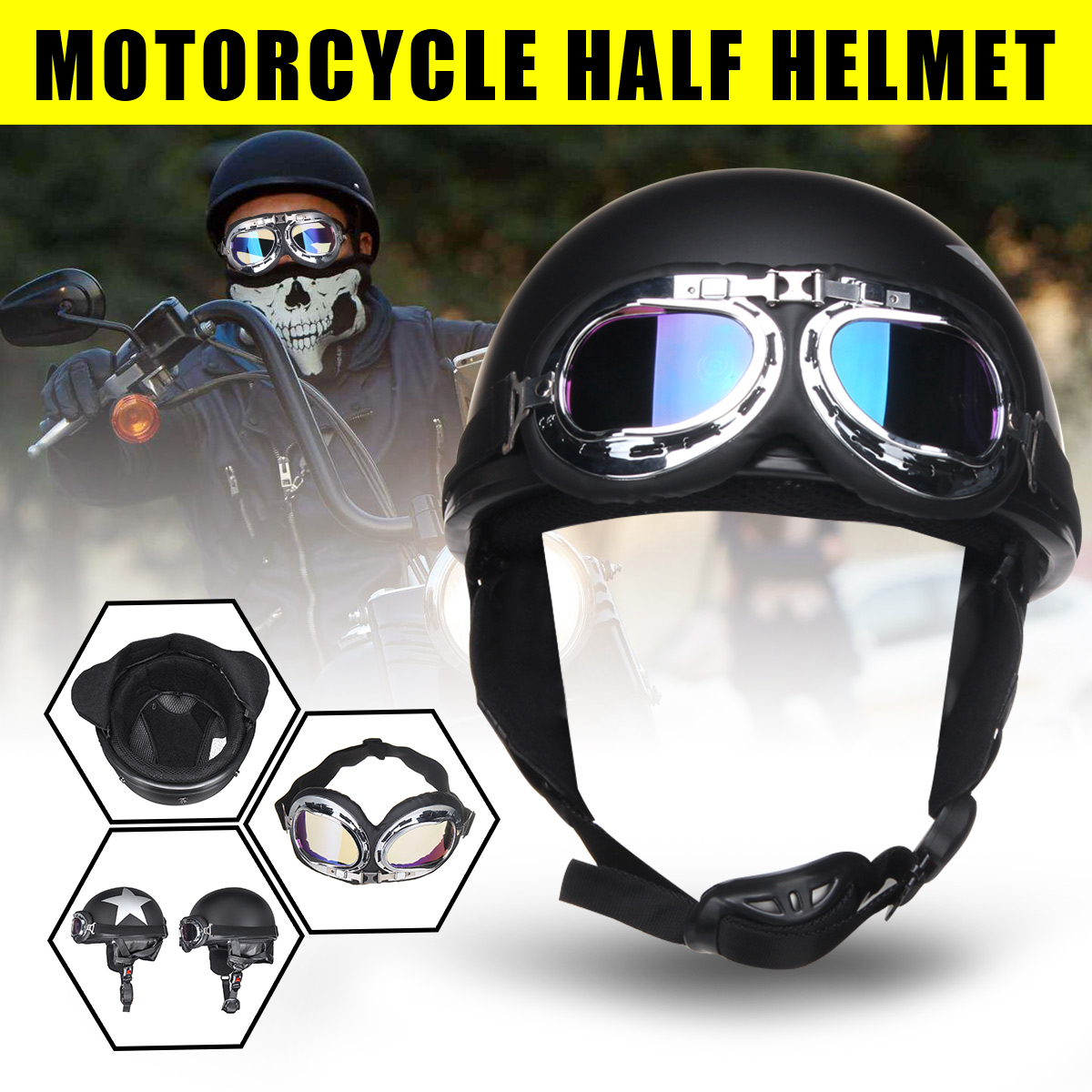 Open Face Safety Half Helmet With UV Goggle Retro Motorcycle Helmet Star Pattern Motorcycle Accessories Parts Protective Gears