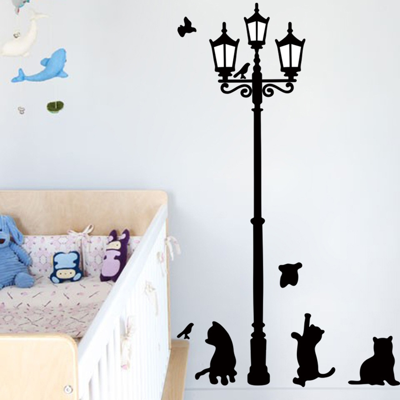 Cats Street Lamp Lighs Stickers Wall Decal Removable Art Vinyl Mural Decal Decor